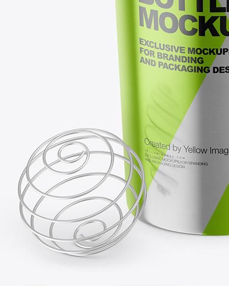 Metallic Shaker Bottle with Blender Ball Mockup