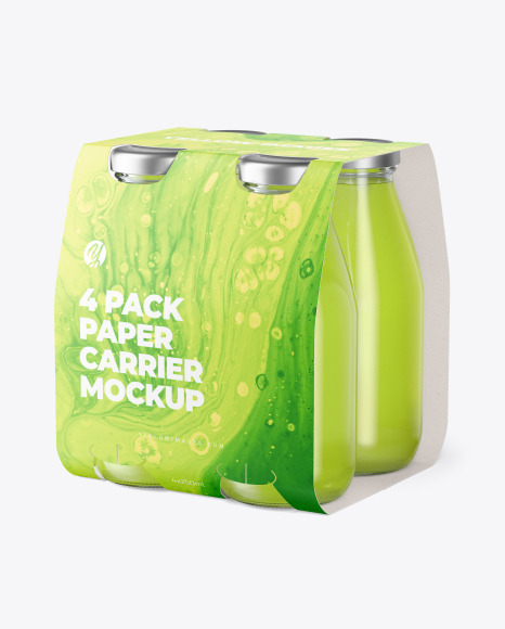 4 Drink Bottles Pack Paper Carrier Mockup