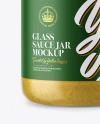 Glass Jar with Mustard Sauce Mockup