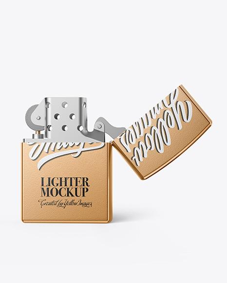 Opened Metallic Textured Lighter Mockup