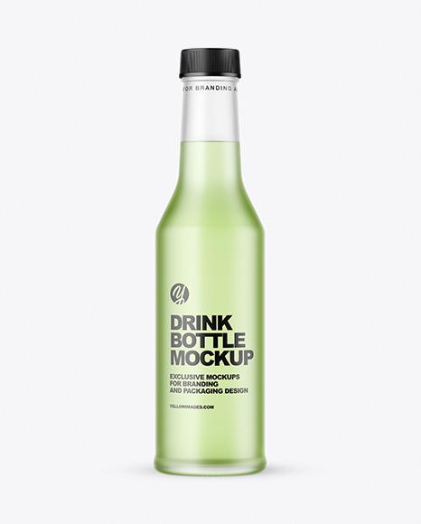 Frosted Glass Drink Bottle Mockup