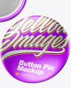 Three Metallic Button Pins Mockup