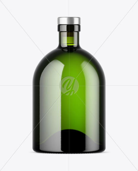 Green Glass Bottle with Wooden Cap Mockup