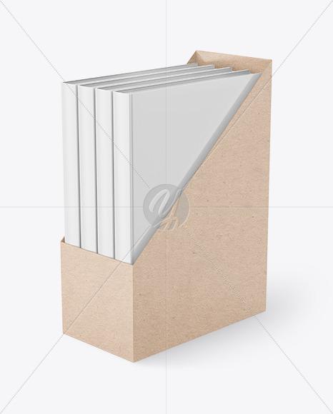 Set of Books in a Kraft Paper Box Mockup