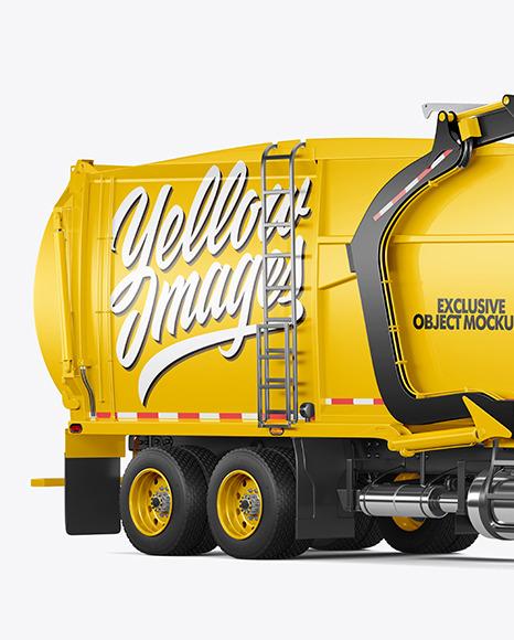Garbage Truck Mockup - Half Side View