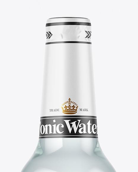Blue Glass Tonic Water Bottle Mockup