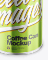 Coffee Tin Can with Glossy Metallic Finish Mockup