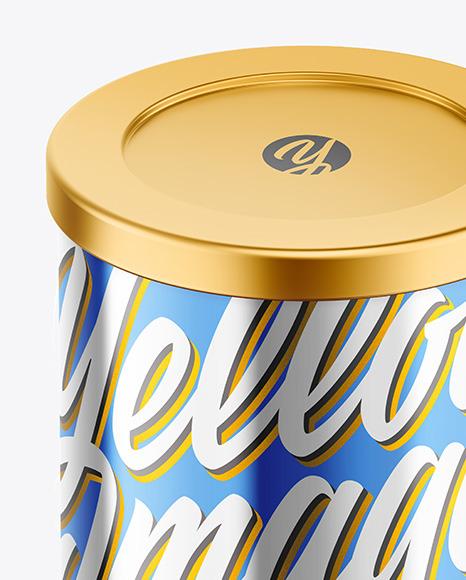 Coffee Tin Can with Glossy Metallic Finish Mockup