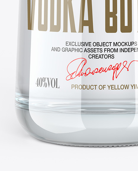 Clear Glass Vodka Bottle with Wooden Cap Mockup