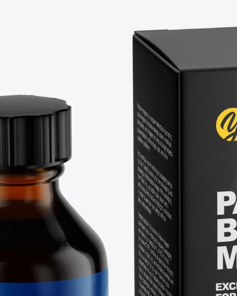 Amber Glass Bottle With Box Mockup