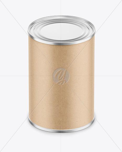 Tin Can with Kraft Finish Mockup