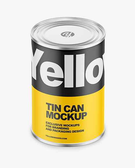 Tin Can with Paper Finish Mockup