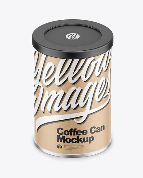 Coffee Tin Can with Kraft Finish Mockup
