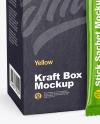 Glossy Stick Sachet w/ Kraft Box Mockup