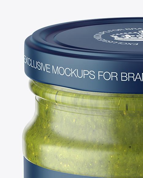 Glass Jar with Pesto Sauce Mockup