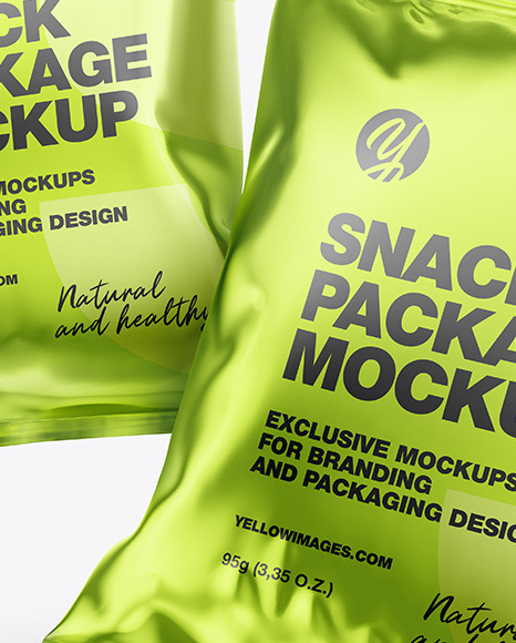 Two Glossy Metallic Snack Packages Mockup