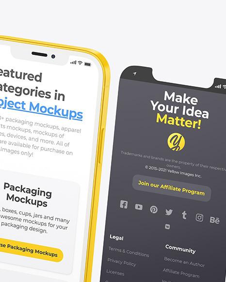 Clay Apple iPhone 12 Pro w/ Screens Mockup