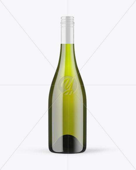 Green Glass White Wine Bottle with Screw Cap Mockup