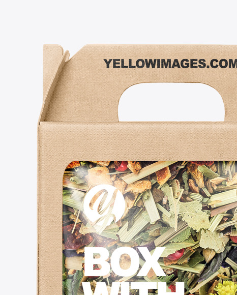 Kraft Box with Herbal Tea Mockup