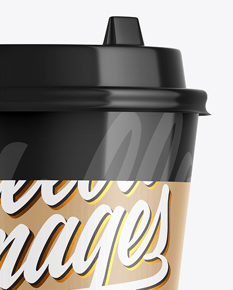 Glossy Coffee Cup w/ Holder Mockup