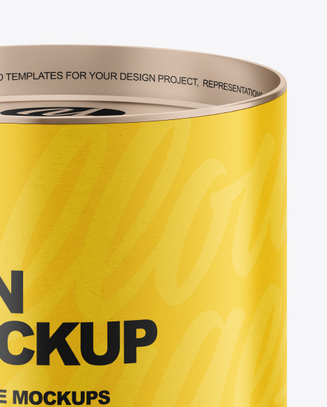 Tin Can with Paper Label Mockup
