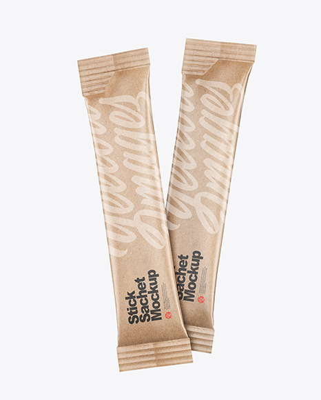 Two Kraft Stick Sachets Mockup