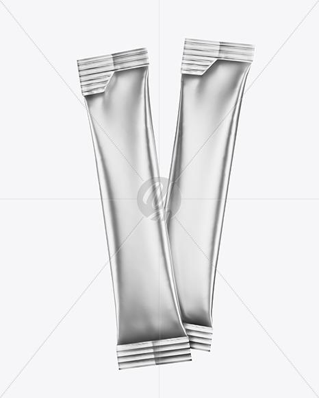 Two Metallic Stick Sachets Mockup