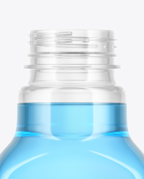 Clear Plastic Bottle with Color Drink Mockup