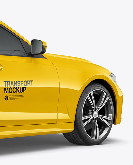 Executive Car Mockup - Back Half Side View