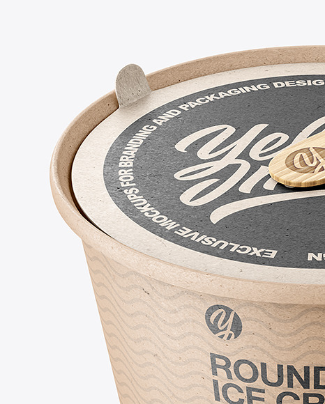 Ice Cream Kraft Paper Cup With Wooden Stick Mockup