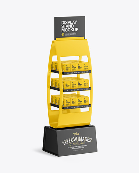 Glossy Display Stand w/ Boxes Mockup