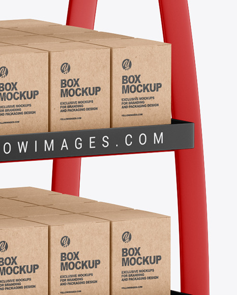 Matte Display Stand w/ Boxes Mockup
