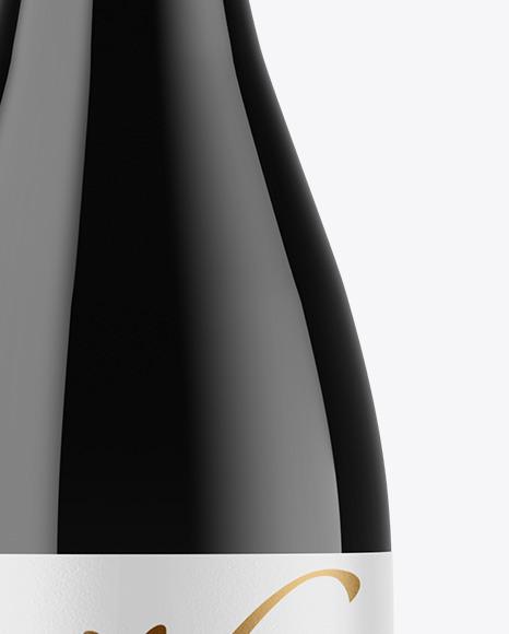 Dark Glass Wine Bottle with Screw Cap Mockup