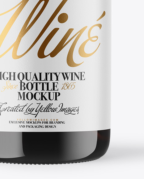 Amber Glass White Wine Bottle with Screw Cap Mockup