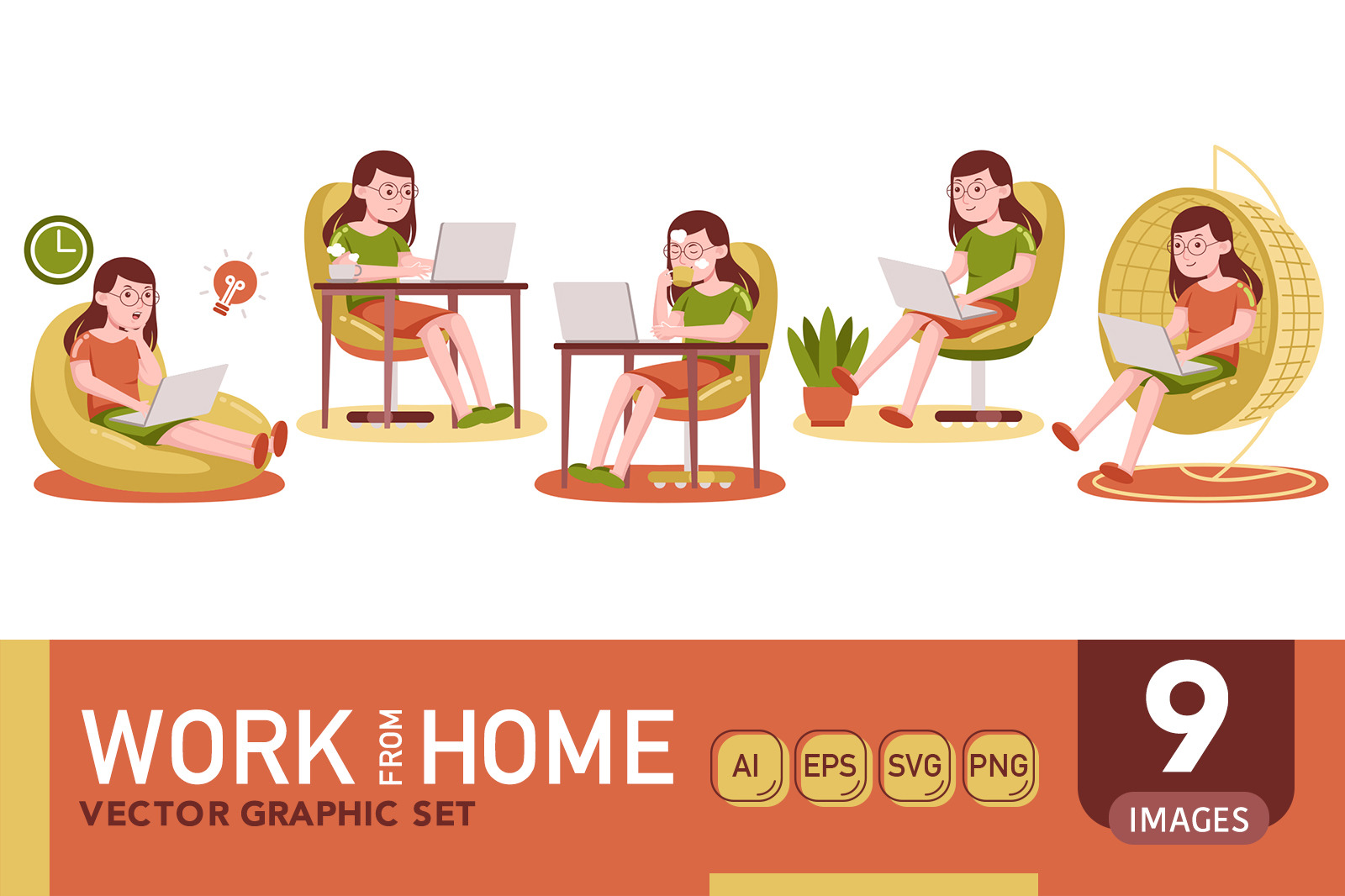 Work From Home Vector Graphic Set 04
