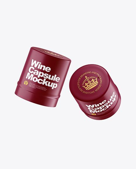 Two Matte Wine Capsules Mockup