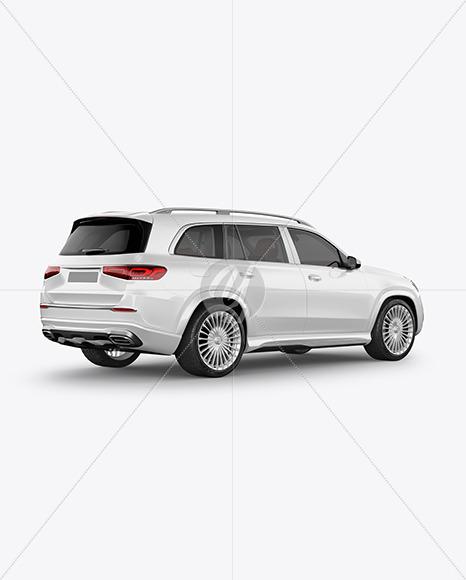 Full-size luxury SUV Mockup - Back Half Side View