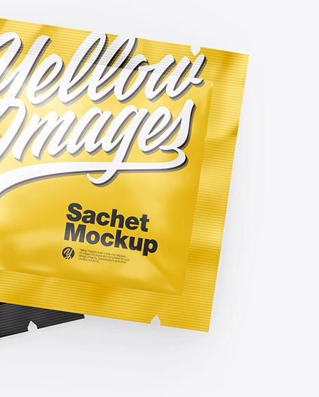 Two Glossy Square Sachets Mockup