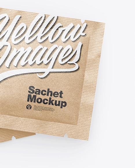 Two Kraft Square Sachets Mockup