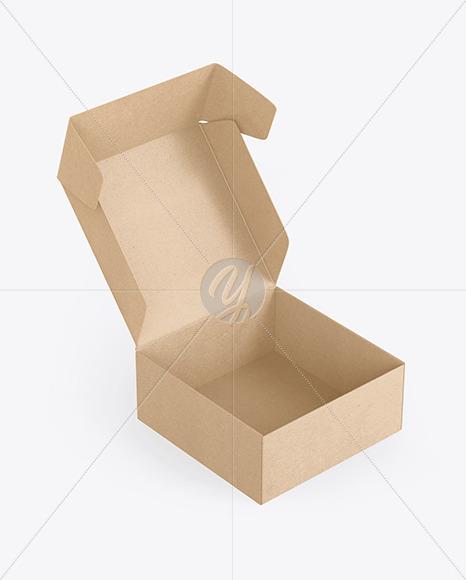 Opened Kraft Paper Box Mockup