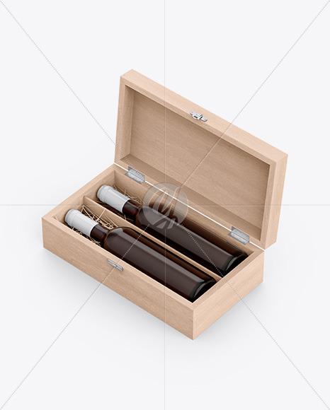 Wooden Box W/ Amber Bottles Mockup