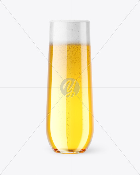 Stemless Flute Glass w/ Pilsner Beer Mockup