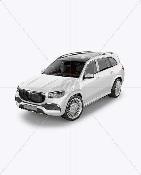 Full-size luxury SUV Mockup - Half Side View (High-Angle Shot) - Yellowimages Mockups