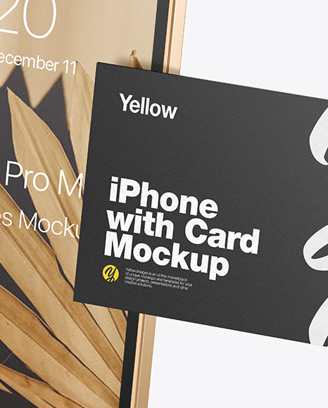 Clay Apple iPhone 12 Pro Max w/ Business Card Mockup