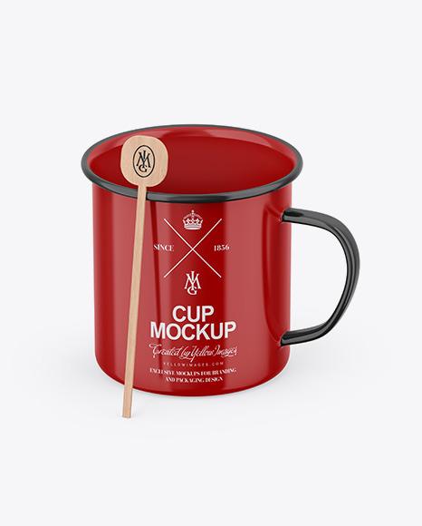 Glossy Cup W/ Stirrer Stick Mockup