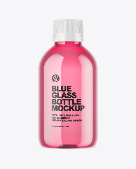 Blue Glass Bottle Mockup