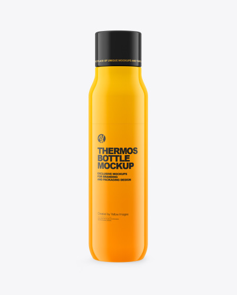 Glossy Thermos Bottle Mockup