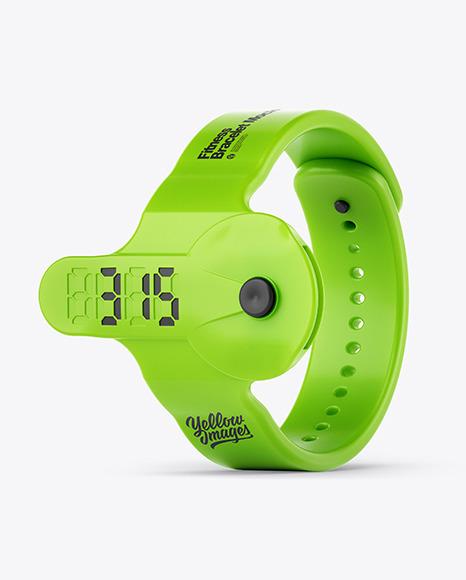 Fitness Silicone Bracelet Mockup - Half Side View