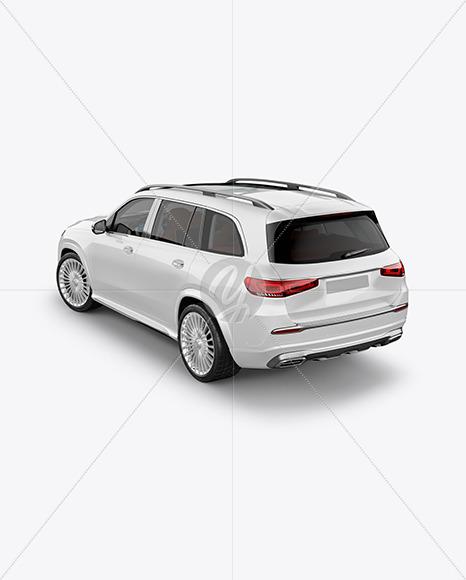 Full-size luxury SUV Mockup - Back Half Side View (High-Angle Shot)