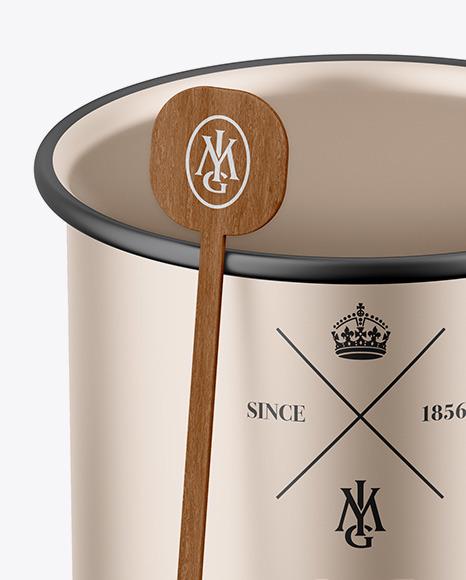 Glossy Metallic Cup W/ Stirrer Stick Mockup